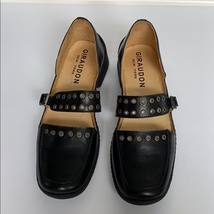 GIRAUDON Black Leather Loafers w/ Silver Rings